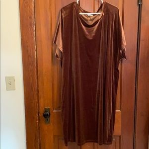 Brown velvet T-shirt dress